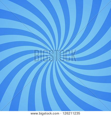 Swirling radial pattern background. Vector illustration for cute sky circus design. Vortex starburst spiral twirl square. Helix rotation rays. Converging blue scalable stripes. Fun sun light beams.