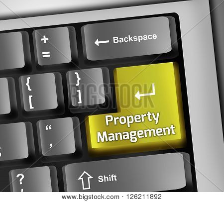 Image Photo Keyboard Illustration with Property Management wording