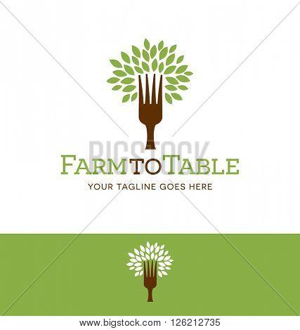 fork tree logo design for restaurant, farm, blog or website
