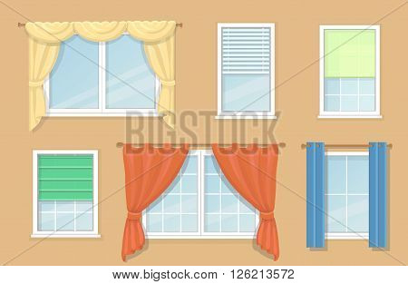 Illustration of design blind and types of windows curtains, Jalousie
