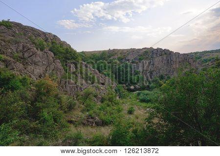 Summer Landscape, Rocks And Water