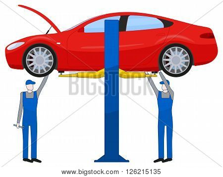 Two mechanic standing under underbody and repairing a car lifted on auto hoist, vector illustration isolated on white