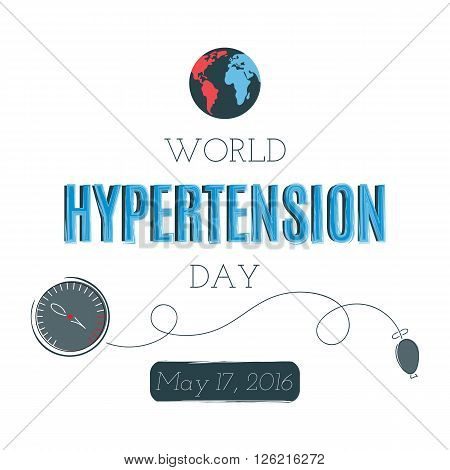 Vector typography on white background, card template. Retro style calligraphy, World Hypertension day announcement. For greeting card, logo, badge, print, poster, banner design.
