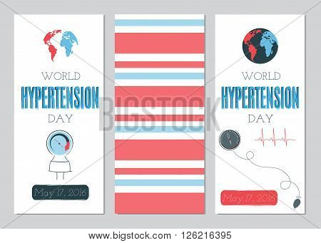 Vector set of vertical banner templates. Suitable for World Hypertension day holiday. For poster, greeting cards, brochures, tags and labels, souvenirs, invitations, calendars and party designs.