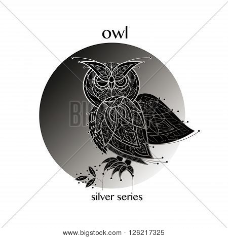 Owl. Vector owl icon in a circle. Concept image of decorative bird. Modern trend - linear design. Illustration owl logo sign symbol object of nature. Series black white and silver.