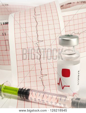 Syringe with medicine and bottle on electrocardiogram.