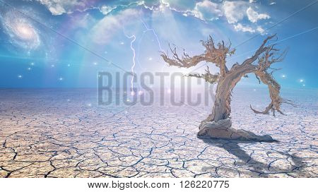 Delightful desert scene with light 3D Render