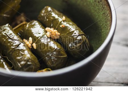 Stuffed vine leaves, or dolmades, in a bowl. Close up. Stuffed Mediterranean vine leaves. International cuisine.