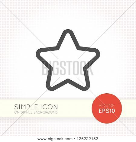 Line designed five-pointed star icon. Star icon eps. Star icon image. Star icon shape isolated on simple background.