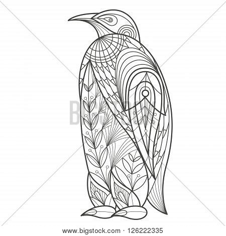 Vector illustration decorative penguin on white background. Fashion trend of adult coloration. Bird penguin vector with elements oriental motif Turkish cucumber. Black and white. Modern vector design.