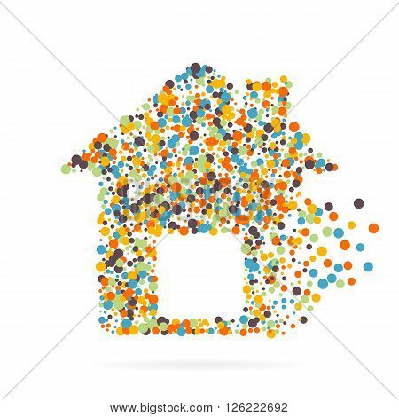 Abstract creative concept vector icon of house for Web and Mobile app isolated on background. Art illustration template design, Business infographic and social media, digital flat silhoette