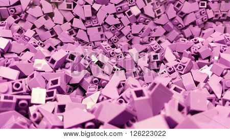 Many pink plastic blocks in a pile