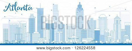 Outline Atlanta Skyline with Blue Buildings. Business Travel and Tourism Concept with Modern Buildings. Image for Presentation Banner Placard and Web Site.