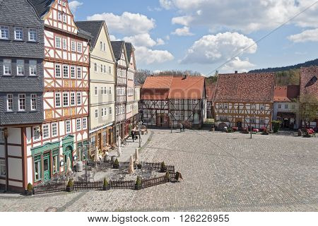 NEU ANSPACH, GERMANY - APRIL 18, 2016: the marketplace in the open air museum Hessenpark, Neu Anspach, Germany