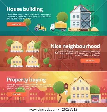 Construction and building banners set. Flat illustrations on the theme of property buying, neighbourhood, house building, real estate.