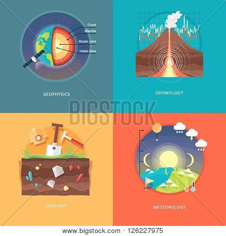 Education and science concept illustrations. Geophysics, seismology, geology, meteorology . Science of Earth and planet structure. Knowledge of athmospherical phenomena. Flat vector design banner. poster