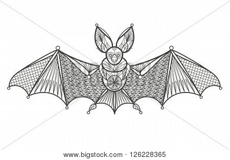 Vector illustration of a decorative bat on a white background. Fashion trend of the adult coloration. Images of the bat with oriental motifs elements. Black and white bat. Modern design of the vector.