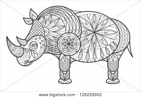 Vector illustration decorative rhinoceros on white background. Fashion trend of adult coloration. Rhinoceros vector with elements oriental motif. Black and white rhinoceros. Modern vector design.