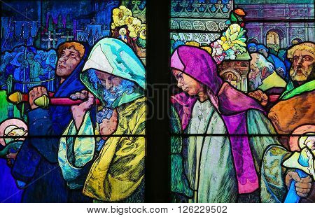 Stained Glass In Prague Cathedral Of Saints Cyril And Methodius