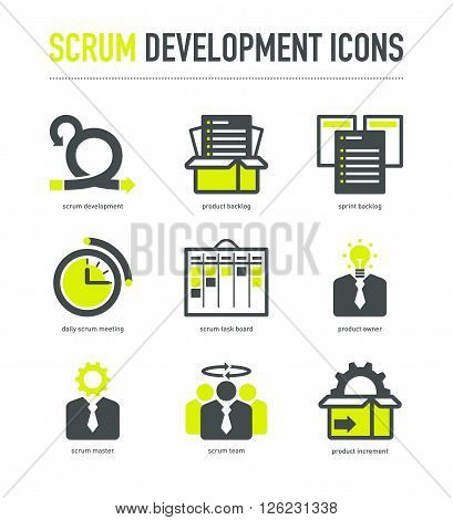 Scrum development methodology icons in grey-lime colores