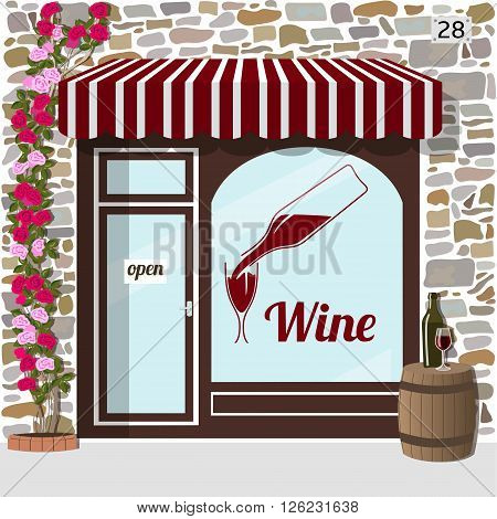 Wine shop building.Facade of stone. barrel with bottle and glass on it at the fore. Vector illustration EPS10
