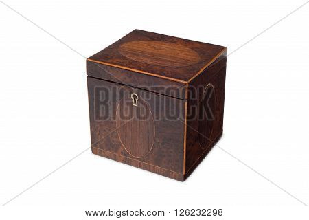 A Small Antique Wooden Tea Caddy