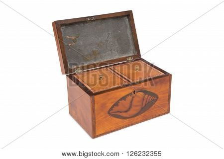 A Vintage Wooden Tea Double Caddy With Covered Compartments