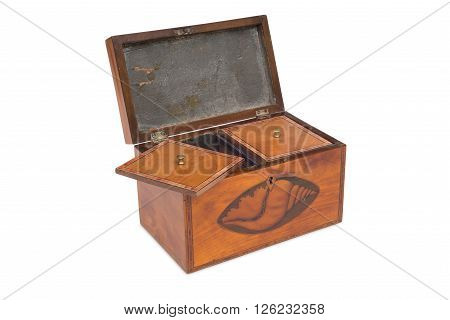 An Opened Vintage Wooden Tea Twin Caddy And Compartments