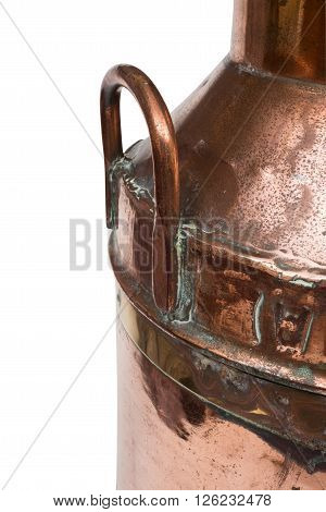 Closeup Of A Handle Of A Vintage Copper Milk Churn