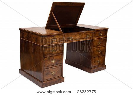 An Antique Wooden Pedestal Desk With Compartment Top