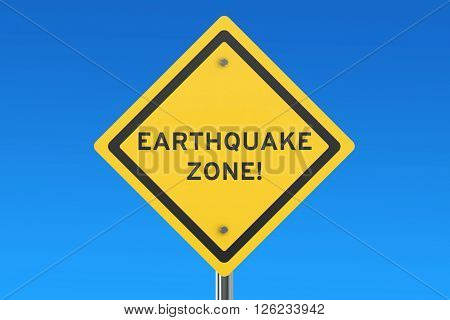 Earthquake Yellow Road Sign 3D rendering on the signpost