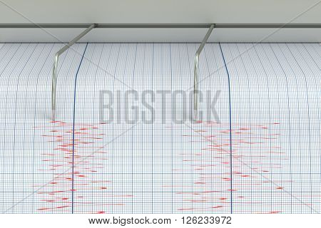 Seismograph Earthquake Activity concept with seismometer, 3D rendering