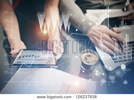 Photo female hands holding modern tablet. Finance department managers working new global project in office. Using electronic devices. Graphics icons, worldwide stock exchanges interface.