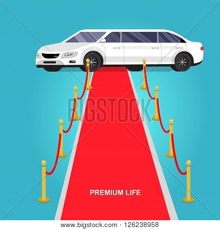 detailed vector luxury limousine car and red carpet for world premiere, red carpet for celebrities and guests. Vector red carpet and luxury limousine