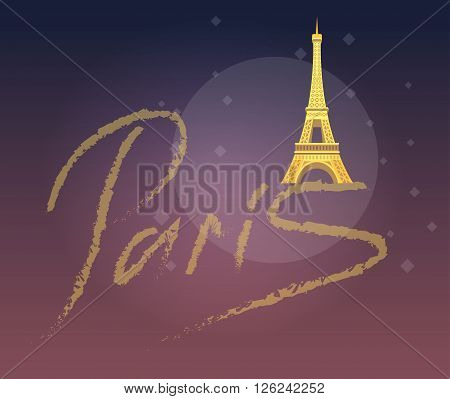 High quality, detailed most famous World landmark. An image of Paris Eiffel Tower Icon. Paris Eiffel Tower card. Travel vector. Travel illustration. Travel landmarks. Happy travel