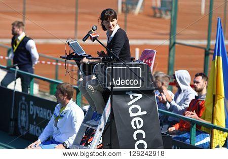 KYIV UKRAINE - APRIL 17 2016: Chair umpire (tennis referee) on the position during BNP Paribas FedCup game Lesia Tsurenko of Ukraine vs Maria Irigoyen of Argentina at Campa Bucha Tennis Club in Kyiv