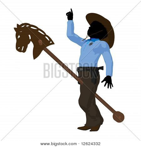 African american teen cowboy with a wooden hobby horse a white background poster