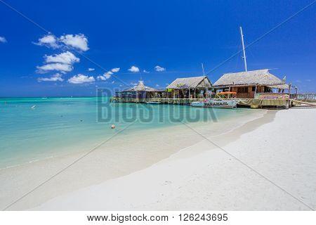 Cafe on tropical beach at Aruba on the palm beach