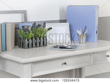 Stylish workplace at home, closeup