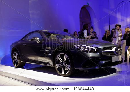ST. PETERSBURG, RUSSIA - APRIL 1, 2016: Presentation of new SL-roadster during Mercedes-Benz Fashion Day St. Petersburg. The car transforms from open roadster to cosseting coupe in seconds