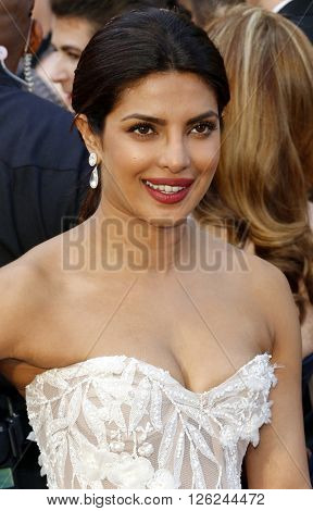 Priyanka Chopra at the 88th Annual Academy Awards held at the Dolby Theatre in Hollywood, USA on February 28, 2016.
