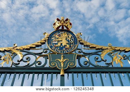 Gate with Royal Dutch emblem of the Noordeinde Palace in The Hague Netherlands