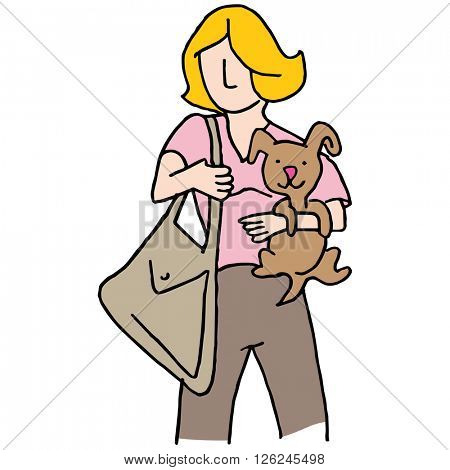 An image of a Woman holding small dog.