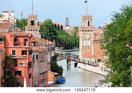 VENICE ITALY - JULY 10 2009: The Venetian Arsenal's entrance as seen from the lagoon