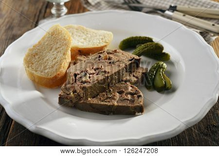 Liver pate with mushrooms and pickles