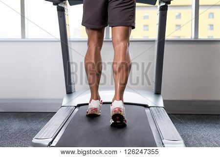 Close-up Exercising On A Treadmill