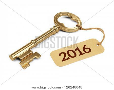 Golden Key with 2016 year tag isolated on white. 3d rendering