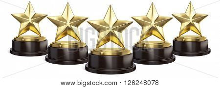 Five Gold stars trophy award isolated on white. 3d rendering