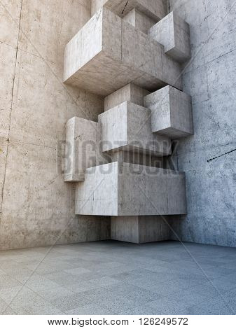 Architectural design of concrete room with elements of cubes. 3D illustration.