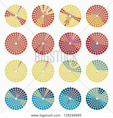 Set circular color different shades of ocher. vector illustration